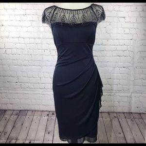 Dresses & Skirts - DJ Jazz Cap Sleeve Beaded Neck Sheath Dress SZ8